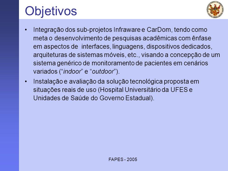 FAPES - 2005 Objetivos Integração dos sub-projetos Infraware e CarDom, tendo como meta o desenvolvimento de pesquisas acadêmicas com ênfase em aspecto