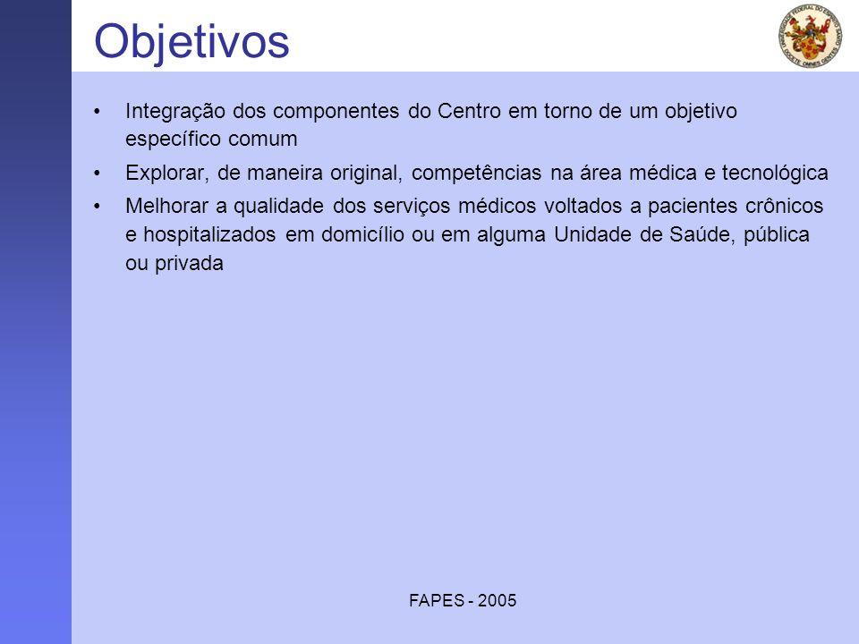 FAPES - 2005 Objetivos Integração dos componentes do Centro em torno de um objetivo específico comum Explorar, de maneira original, competências na ár