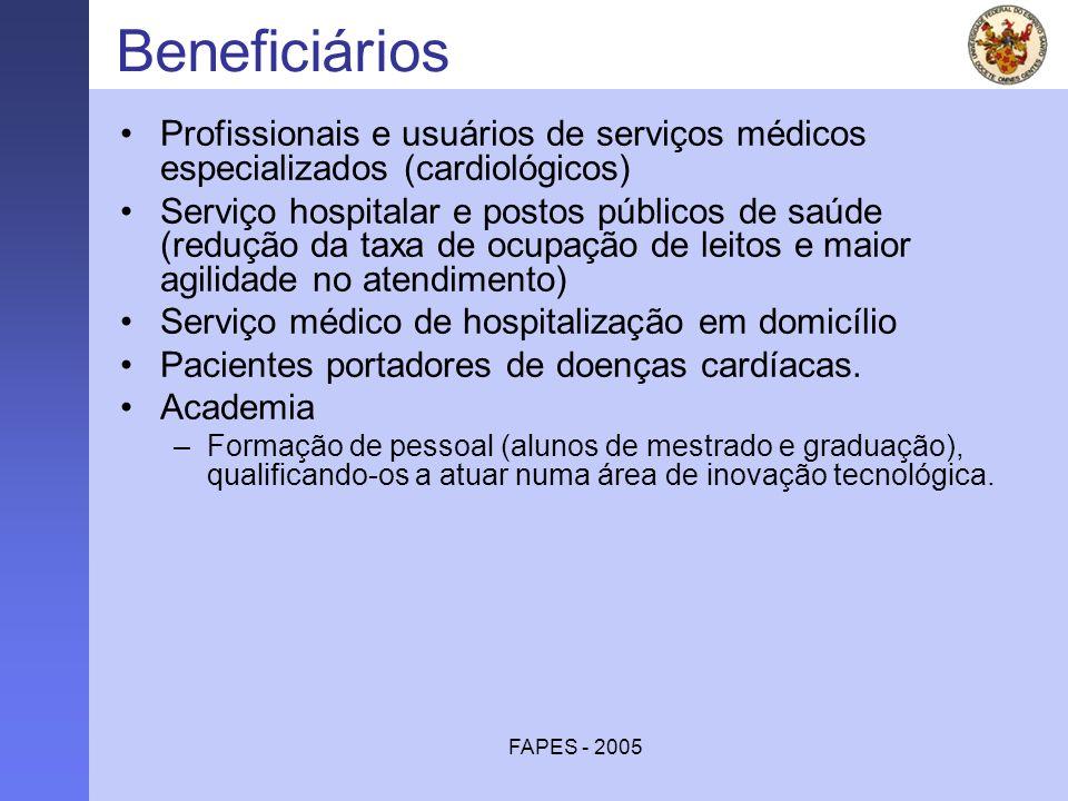 FAPES - 2005 Beneficiários Profissionais e usuários de serviços médicos especializados (cardiológicos) Serviço hospitalar e postos públicos de saúde (