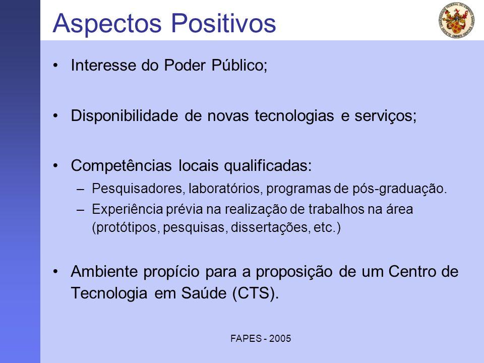 FAPES - 2005 Aspectos Positivos Interesse do Poder Público; Disponibilidade de novas tecnologias e serviços; Competências locais qualificadas: –Pesqui