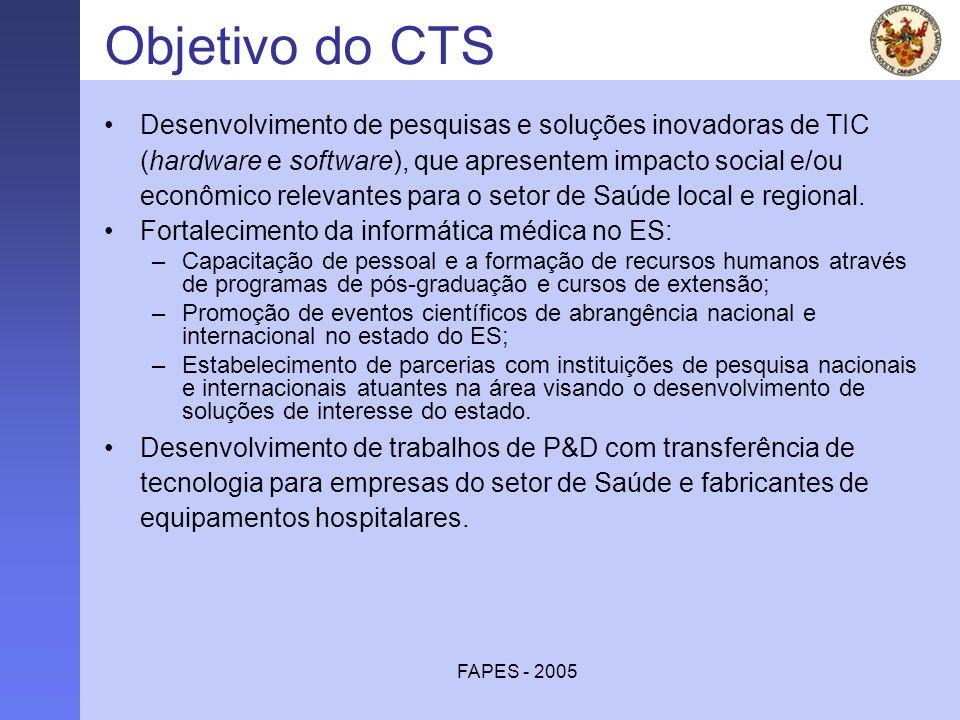 FAPES - 2005 Objetivo do CTS Desenvolvimento de pesquisas e soluções inovadoras de TIC (hardware e software), que apresentem impacto social e/ou econô