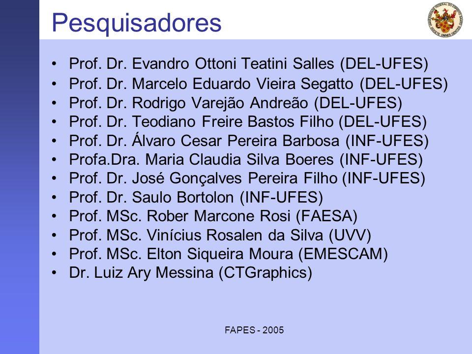 FAPES - 2005 Pesquisadores Prof. Dr. Evandro Ottoni Teatini Salles (DEL-UFES) Prof. Dr. Marcelo Eduardo Vieira Segatto (DEL-UFES) Prof. Dr. Rodrigo Va
