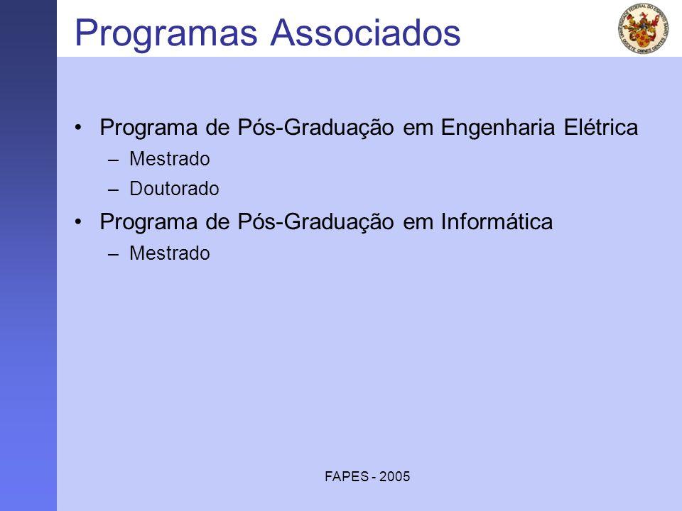 FAPES - 2005 Programas Associados Programa de Pós-Graduação em Engenharia Elétrica –Mestrado –Doutorado Programa de Pós-Graduação em Informática –Mest
