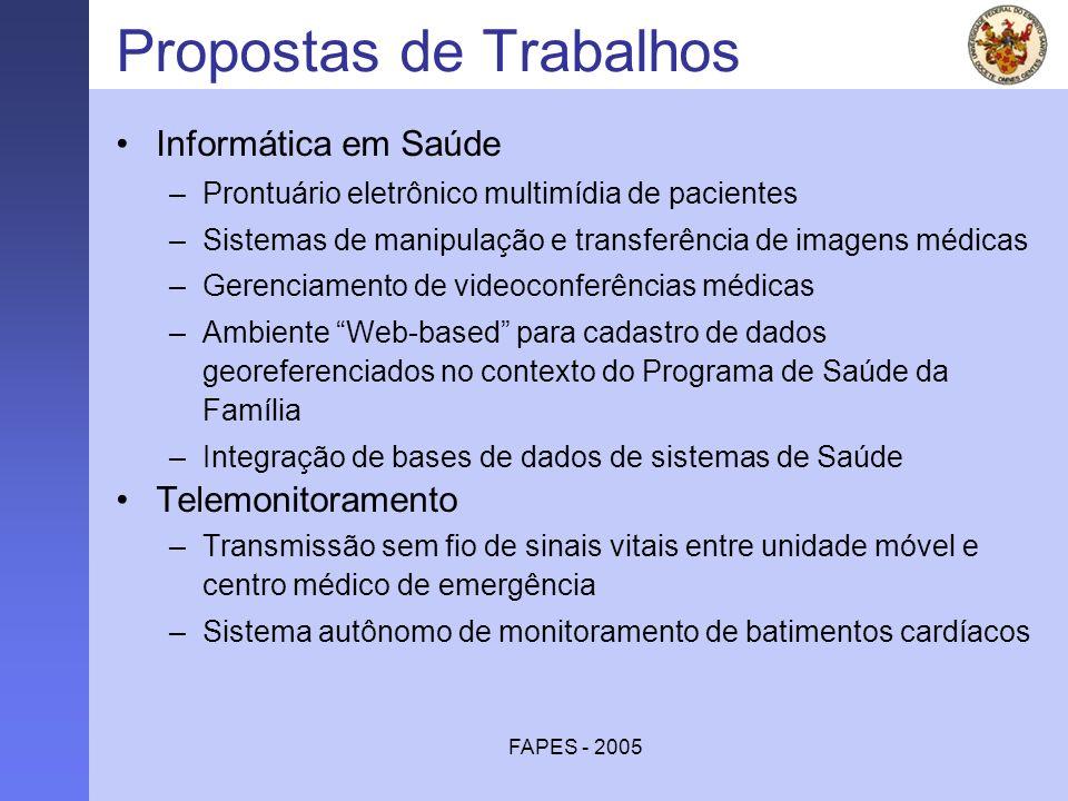 FAPES - 2005 Propostas de Trabalhos Informática em Saúde –Prontuário eletrônico multimídia de pacientes –Sistemas de manipulação e transferência de im