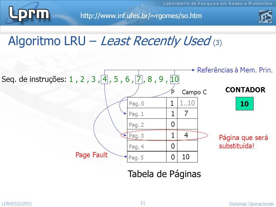 http://www.inf.ufes.br/~rgomes/so.htm 11 Sistemas Operacionais LPRM/DI/UFES Algoritmo LRU – Least Recently Used (3) Seq. de instruções: 1, 2, 3, 4, 5,