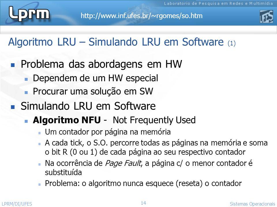 http://www.inf.ufes.br/~rgomes/so.htm 14 Sistemas Operacionais LPRM/DI/UFES Algoritmo LRU – Simulando LRU em Software (1) Problema das abordagens em H