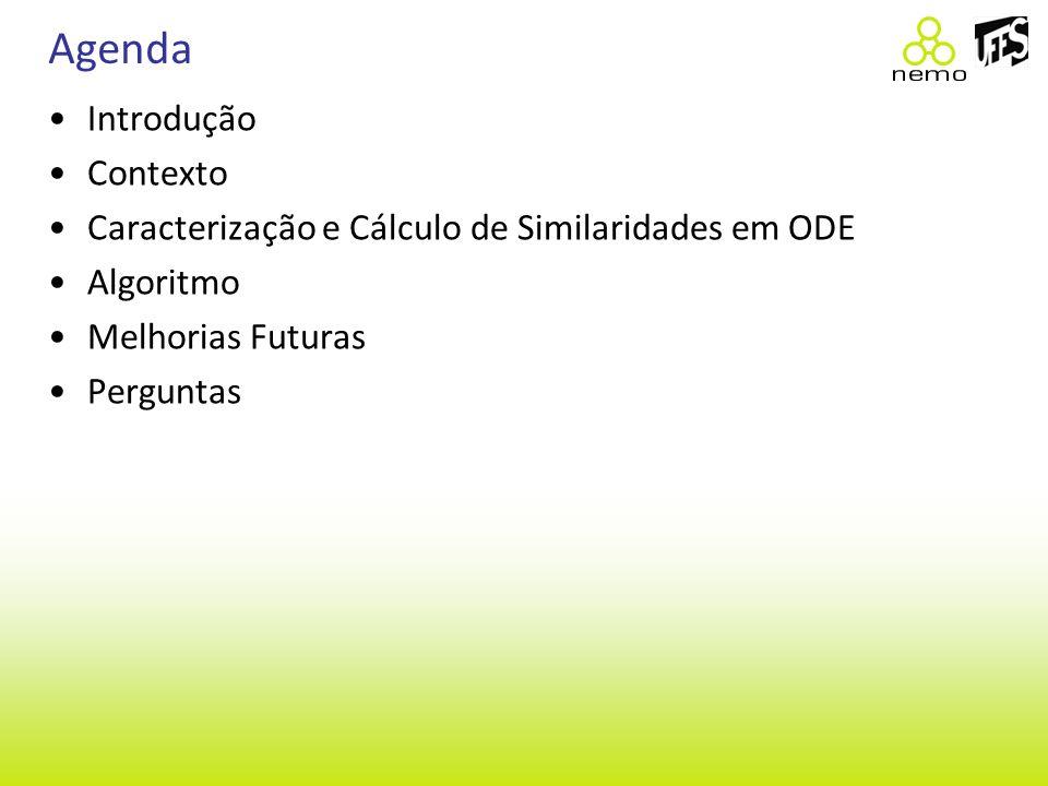 Agenda Introdução Contexto Caracterização e Cálculo de Similaridades em ODE Algoritmo Melhorias Futuras Perguntas