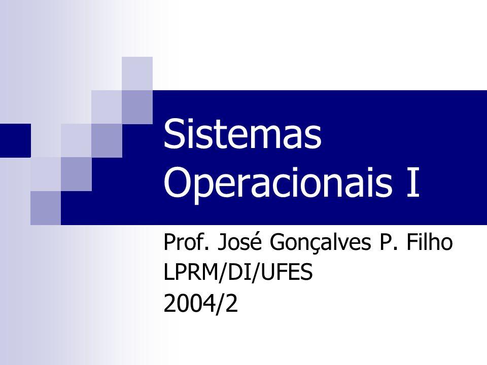 Sistemas Operacionais I Prof. José Gonçalves P. Filho LPRM/DI/UFES 2004/2