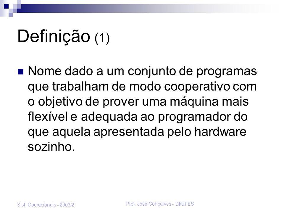 Prof. José Gonçalves - DI/UFES Sist. Operacionais - 2003/2 Definição (1) Nome dado a um conjunto de programas que trabalham de modo cooperativo com o