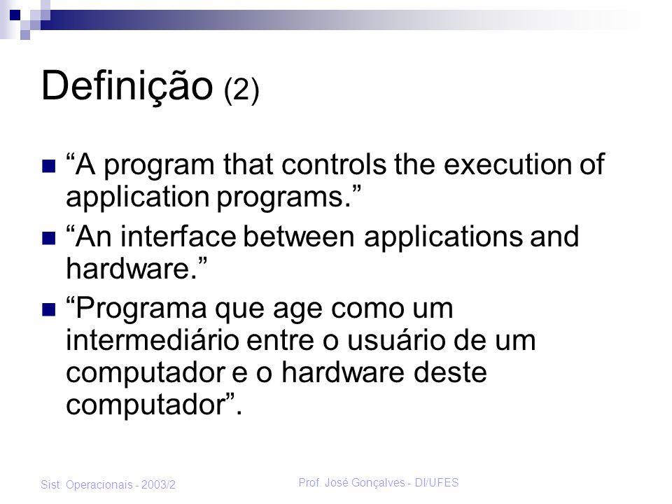 Prof. José Gonçalves - DI/UFES Sist. Operacionais - 2003/2 Definição (2) A program that controls the execution of application programs. An interface b