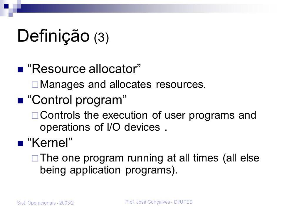 Prof. José Gonçalves - DI/UFES Sist. Operacionais - 2003/2 Definição (3) Resource allocator Manages and allocates resources. Control program Controls