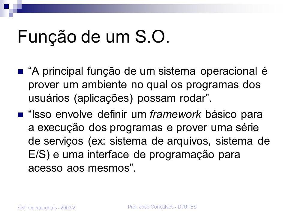 Prof. José Gonçalves - DI/UFES Sist. Operacionais - 2003/2 Função de um S.O. A principal função de um sistema operacional é prover um ambiente no qual