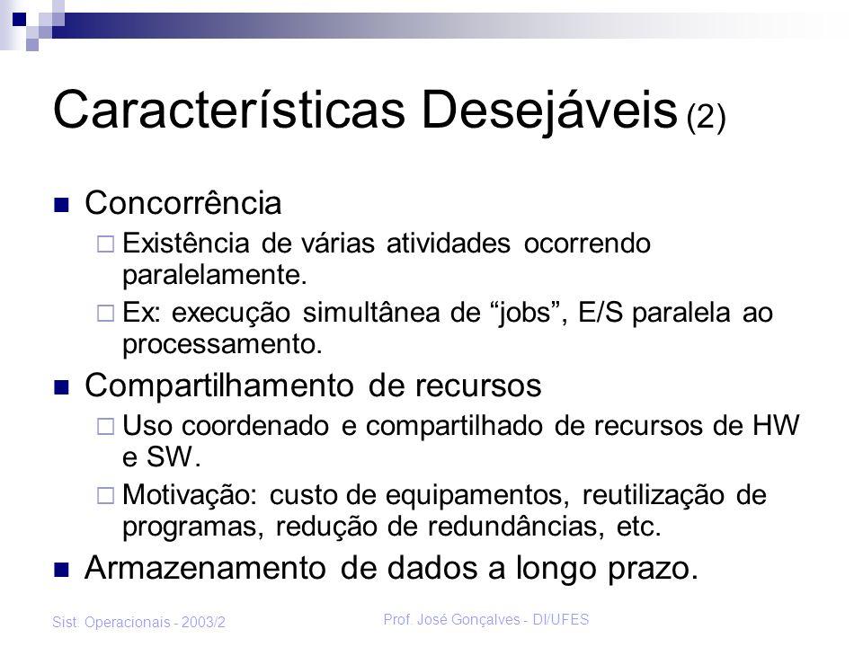 Prof. José Gonçalves - DI/UFES Sist. Operacionais - 2003/2 Características Desejáveis (2) Concorrência Existência de várias atividades ocorrendo paral