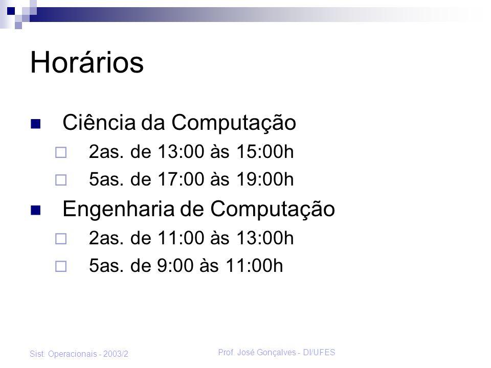 Prof. José Gonçalves - DI/UFES Sist. Operacionais - 2003/2 Horários Ciência da Computação 2as. de 13:00 às 15:00h 5as. de 17:00 às 19:00h Engenharia d