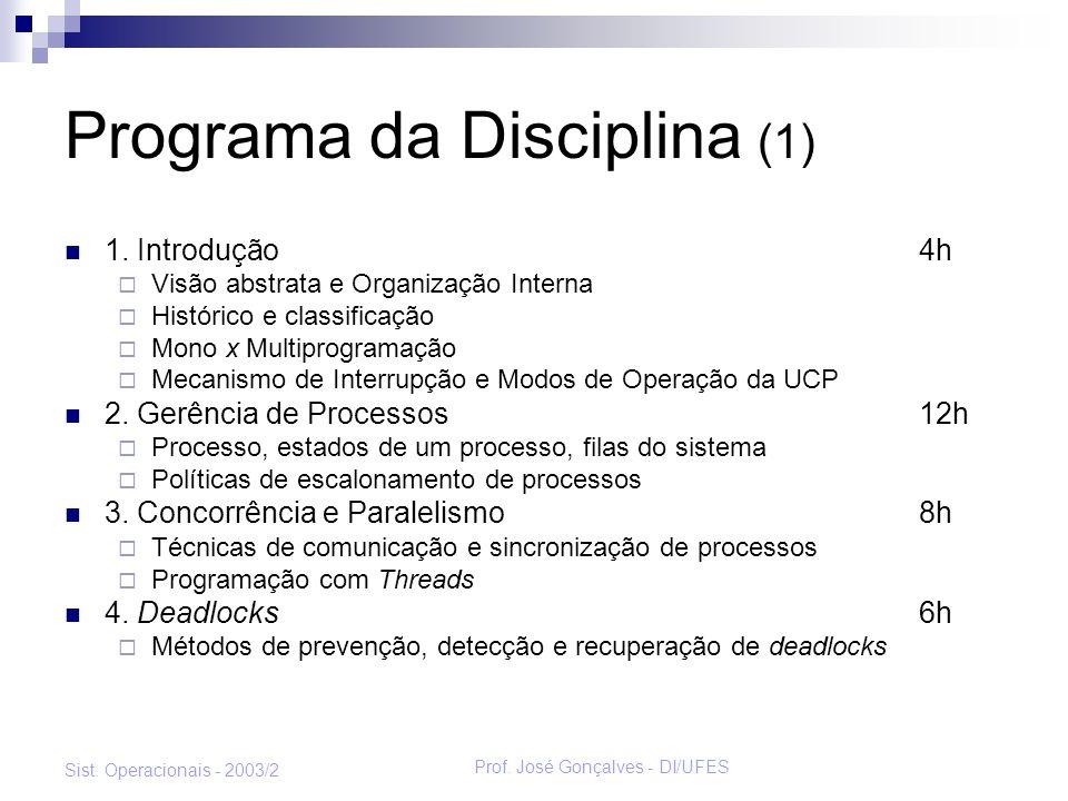 Prof. José Gonçalves - DI/UFES Sist. Operacionais - 2003/2 Programa da Disciplina (1) 1. Introdução4h Visão abstrata e Organização Interna Histórico e