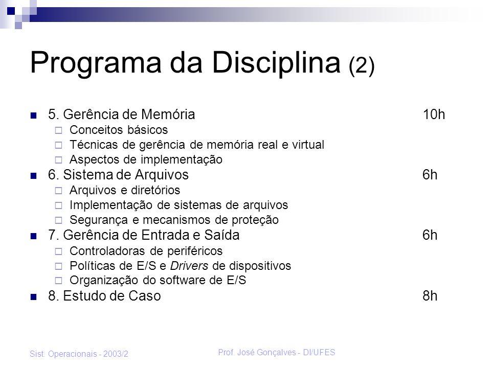 Prof. José Gonçalves - DI/UFES Sist. Operacionais - 2003/2 Programa da Disciplina (2) 5. Gerência de Memória10h Conceitos básicos Técnicas de gerência