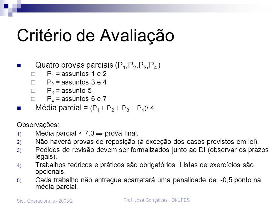 Prof. José Gonçalves - DI/UFES Sist. Operacionais - 2003/2 Critério de Avaliação Quatro provas parciais (P 1,P 2,P 3,P 4 ) P 1 = assuntos 1 e 2 P 2 =