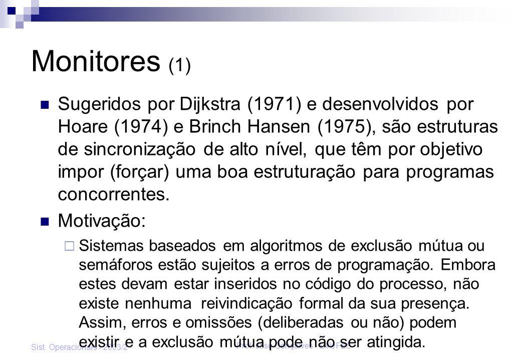 Prof. José Gonçalves - DI/UFES Sist. Operacionais - 2003/2 Monitores (1) Sugeridos por Dijkstra (1971) e desenvolvidos por Hoare (1974) e Brinch Hanse