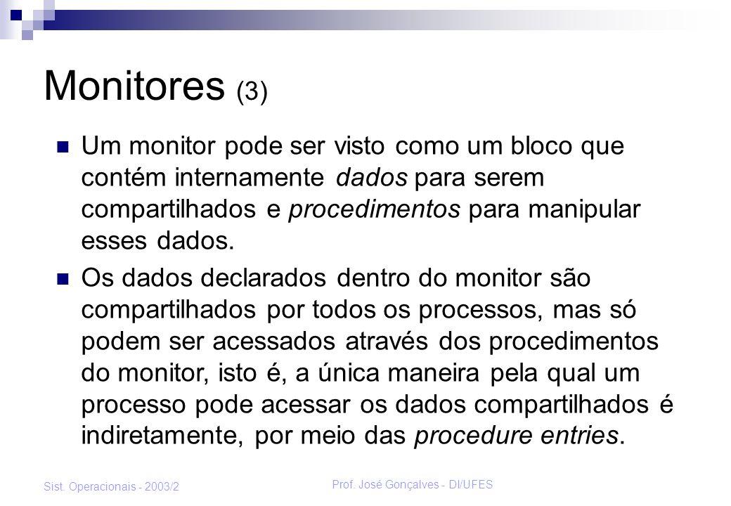 Prof. José Gonçalves - DI/UFES Sist. Operacionais - 2003/2 Monitores (3) Um monitor pode ser visto como um bloco que contém internamente dados para se