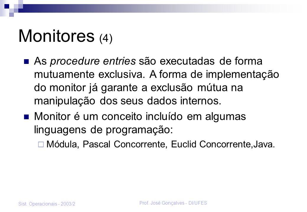 Prof. José Gonçalves - DI/UFES Sist. Operacionais - 2003/2 Monitores (4) As procedure entries são executadas de forma mutuamente exclusiva. A forma de