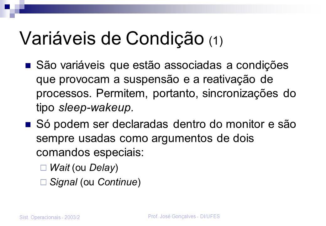 Prof. José Gonçalves - DI/UFES Sist. Operacionais - 2003/2 Variáveis de Condição (1) São variáveis que estão associadas a condições que provocam a sus
