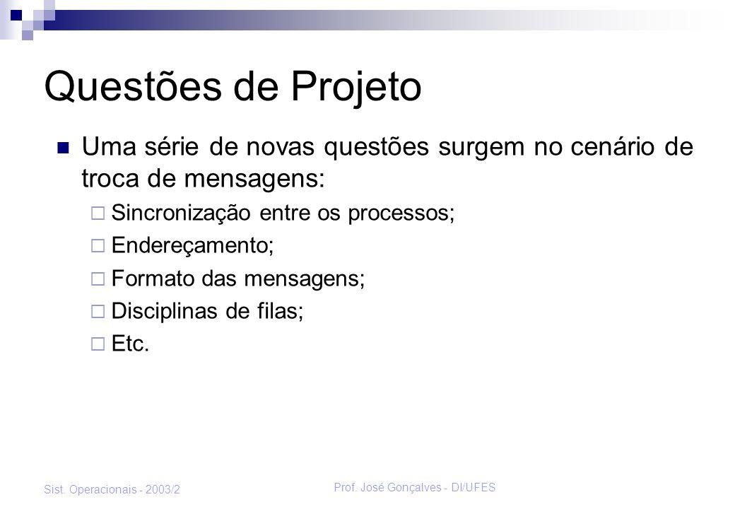 Prof. José Gonçalves - DI/UFES Sist. Operacionais - 2003/2 Questões de Projeto Uma série de novas questões surgem no cenário de troca de mensagens: Si