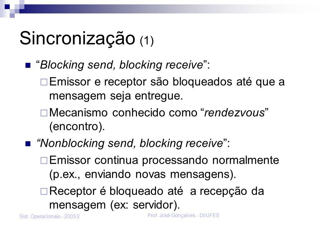 Prof. José Gonçalves - DI/UFES Sist. Operacionais - 2003/2 Sincronização (1) Blocking send, blocking receive: Emissor e receptor são bloqueados até qu