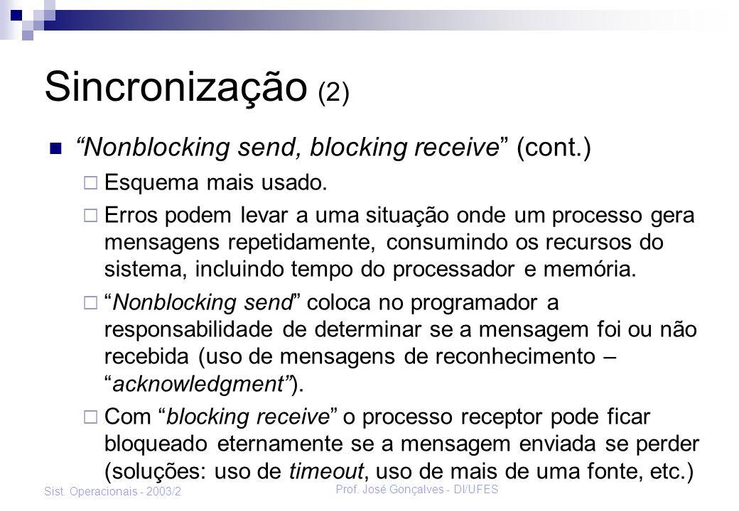 Prof. José Gonçalves - DI/UFES Sist. Operacionais - 2003/2 Sincronização (2) Nonblocking send, blocking receive (cont.) Esquema mais usado. Erros pode