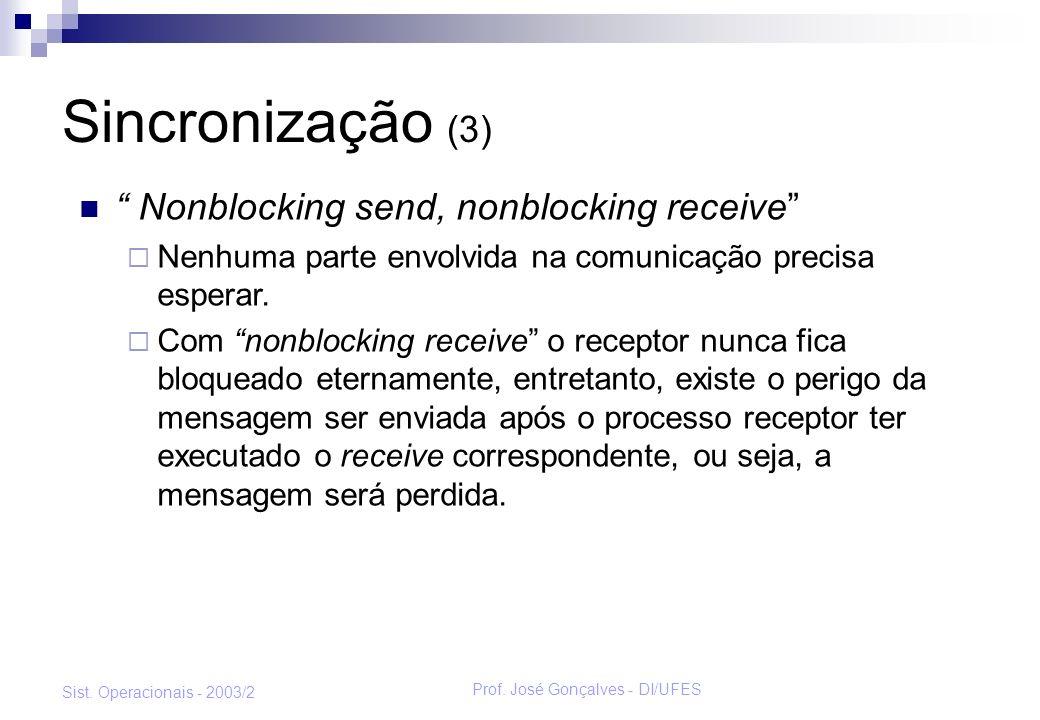 Prof. José Gonçalves - DI/UFES Sist. Operacionais - 2003/2 Sincronização (3) Nonblocking send, nonblocking receive Nenhuma parte envolvida na comunica
