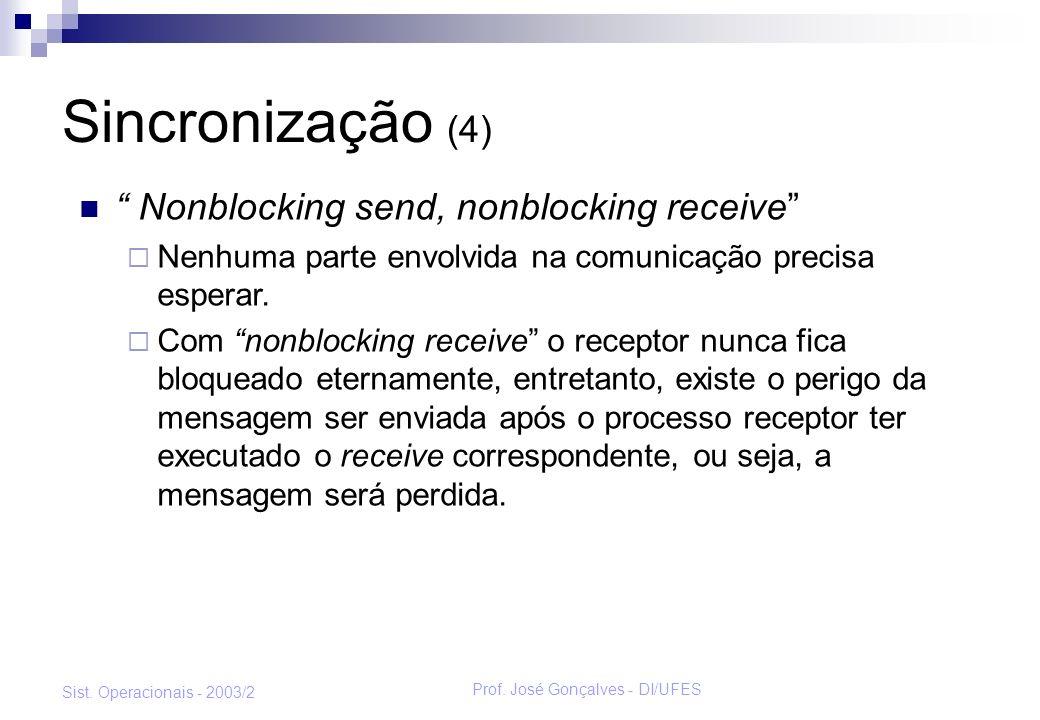 Prof. José Gonçalves - DI/UFES Sist. Operacionais - 2003/2 Sincronização (4) Nonblocking send, nonblocking receive Nenhuma parte envolvida na comunica