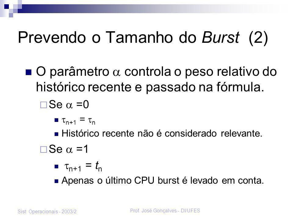 Prof. José Gonçalves - DI/UFES Sist. Operacionais - 2003/2 Prevendo o Tamanho do Burst (2) O parâmetro controla o peso relativo do histórico recente e