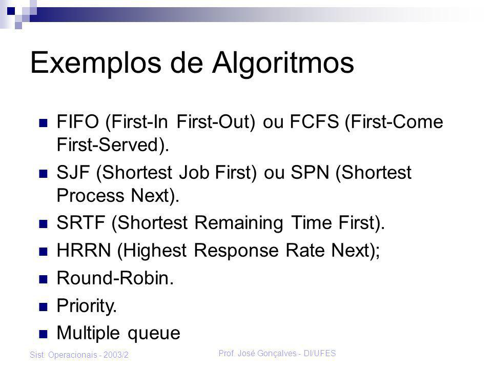 Prof. José Gonçalves - DI/UFES Sist. Operacionais - 2003/2 Exemplos de Algoritmos FIFO (First-In First-Out) ou FCFS (First-Come First-Served). SJF (Sh