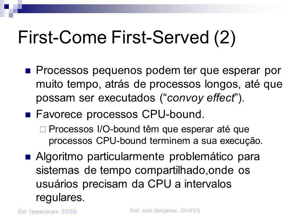 Prof. José Gonçalves - DI/UFES Sist. Operacionais - 2003/2 First-Come First-Served (2) Processos pequenos podem ter que esperar por muito tempo, atrás