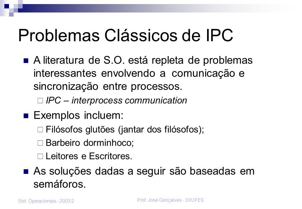 Prof. José Gonçalves - DI/UFES Sist. Operacionais - 2003/2 Os Filósofos Glutões