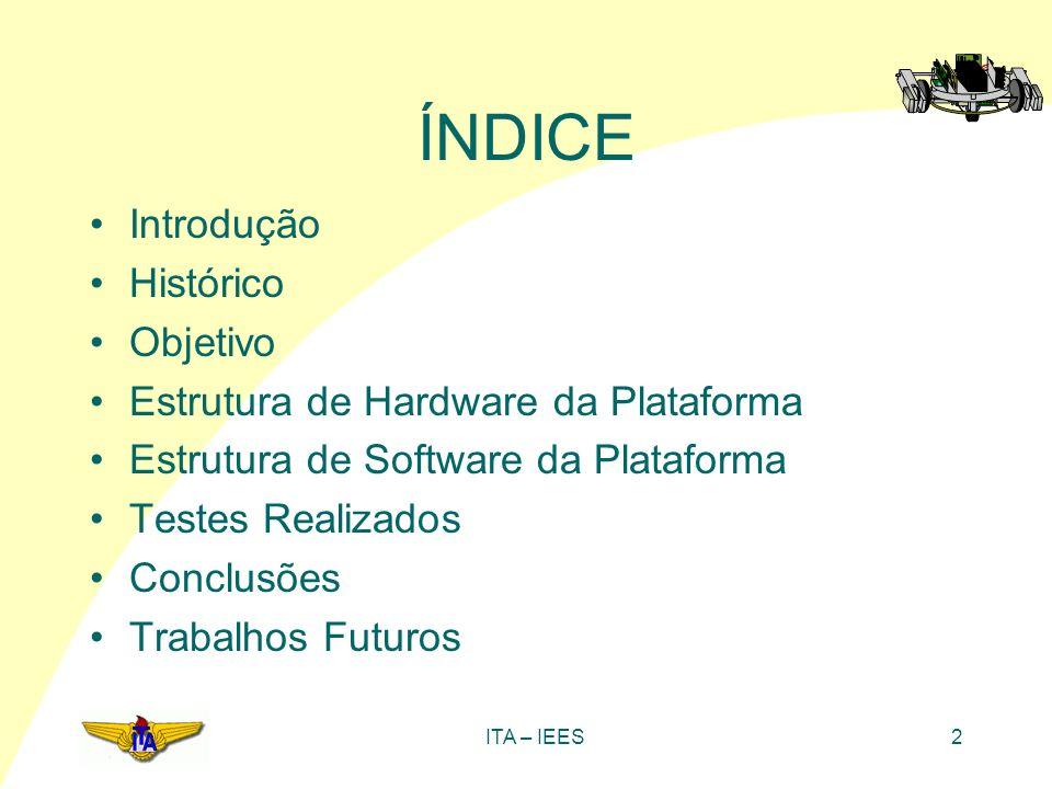 ITA – IEES2 ÍNDICE Introdução Histórico Objetivo Estrutura de Hardware da Plataforma Estrutura de Software da Plataforma Testes Realizados Conclusões