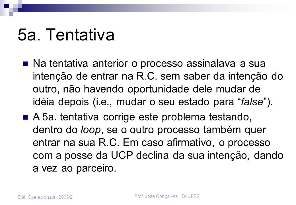 Prof. José Gonçalves - DI/UFES Sist. Operacionais - 2003/2 5a. Tentativa Na tentativa anterior o processo assinalava a sua intenção de entrar na R.C.