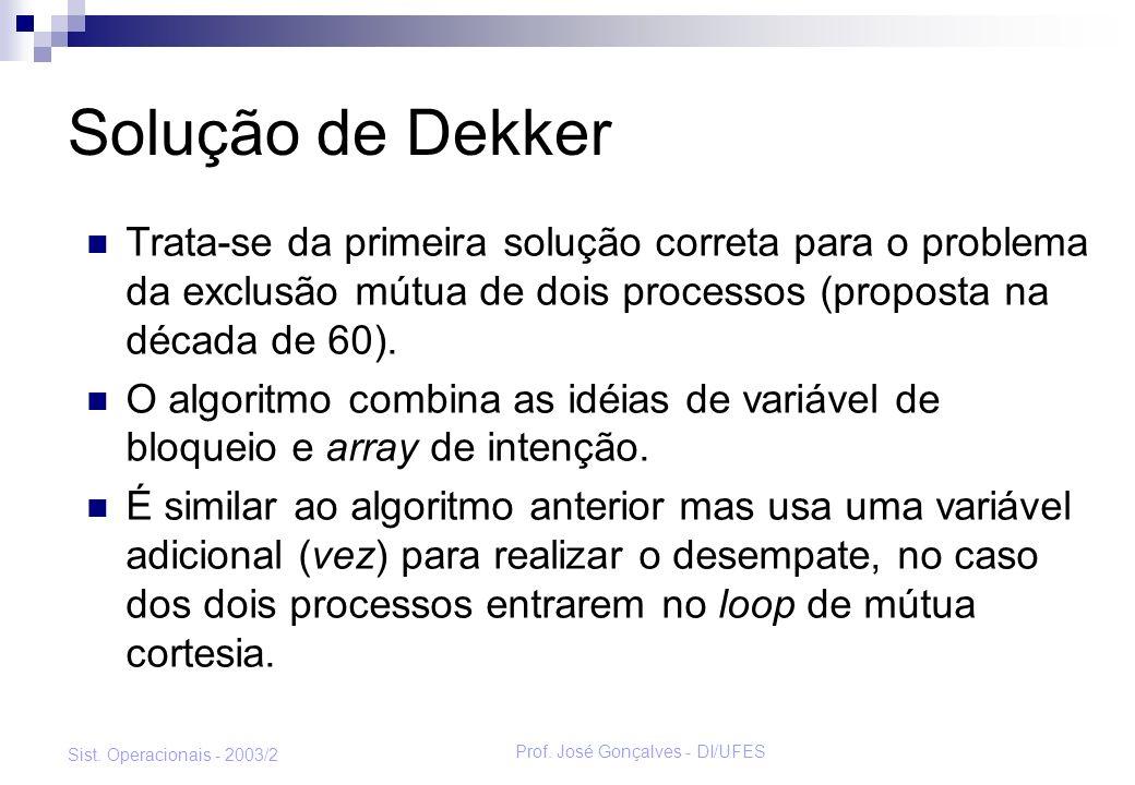 Prof. José Gonçalves - DI/UFES Sist. Operacionais - 2003/2 Solução de Dekker Trata-se da primeira solução correta para o problema da exclusão mútua de