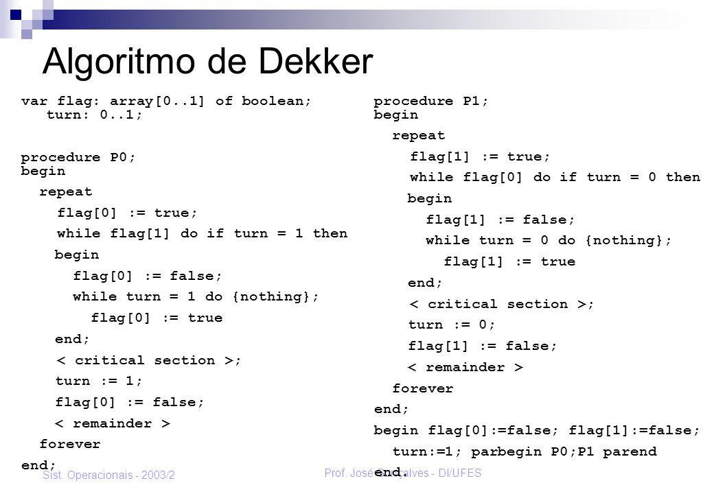 Prof. José Gonçalves - DI/UFES Sist. Operacionais - 2003/2 Algoritmo de Dekker var flag: array[0..1] of boolean; turn: 0..1; procedure P0; begin repea