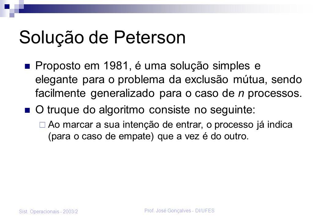 Prof. José Gonçalves - DI/UFES Sist. Operacionais - 2003/2 Solução de Peterson Proposto em 1981, é uma solução simples e elegante para o problema da e