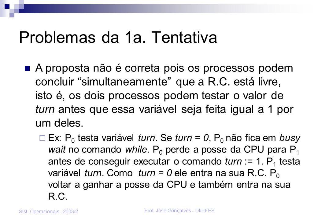 Prof. José Gonçalves - DI/UFES Sist. Operacionais - 2003/2 Problemas da 1a. Tentativa A proposta não é correta pois os processos podem concluir simult
