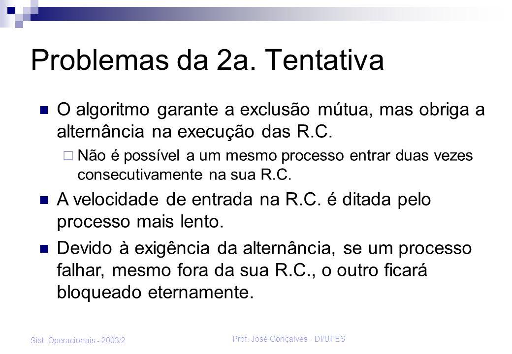 Prof. José Gonçalves - DI/UFES Sist. Operacionais - 2003/2 Problemas da 2a. Tentativa O algoritmo garante a exclusão mútua, mas obriga a alternância n
