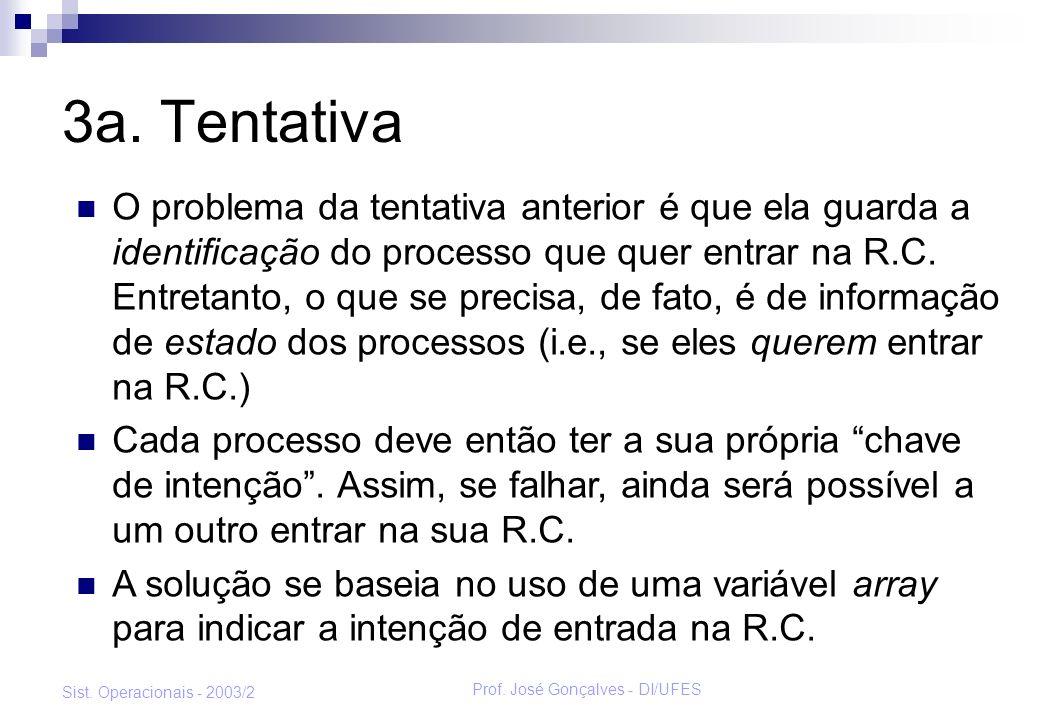 Prof. José Gonçalves - DI/UFES Sist. Operacionais - 2003/2 3a. Tentativa O problema da tentativa anterior é que ela guarda a identificação do processo