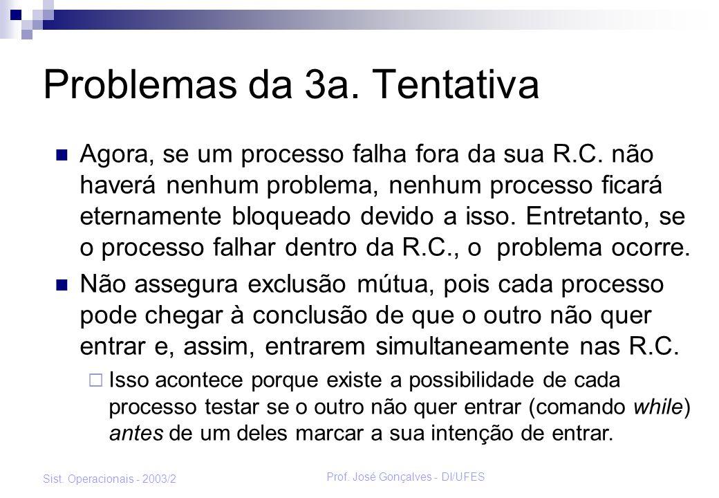 Prof. José Gonçalves - DI/UFES Sist. Operacionais - 2003/2 Problemas da 3a. Tentativa Agora, se um processo falha fora da sua R.C. não haverá nenhum p