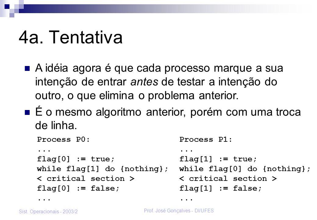 Prof.José Gonçalves - DI/UFES Sist. Operacionais - 2003/2 Problemas da 4a.