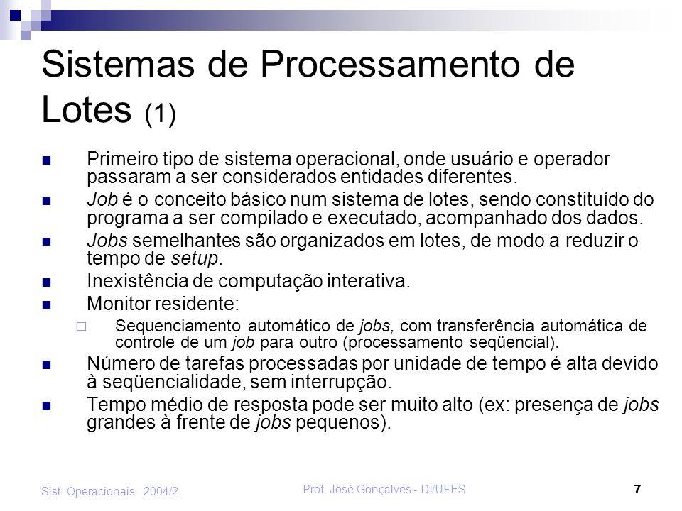 Prof. José Gonçalves - DI/UFES 8 Sist. Operacionais - 2004/2 Sistemas de Processamento de Lotes (2)