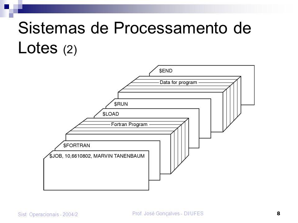 Prof. José Gonçalves - DI/UFES 9 Sist. Operacionais - 2004/2 Sistemas de Processamento de Lotes (3)