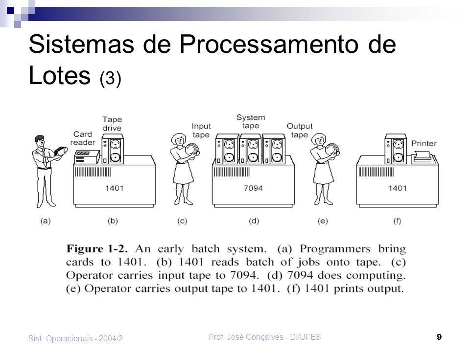 Prof.José Gonçalves - DI/UFES 10 Sist.