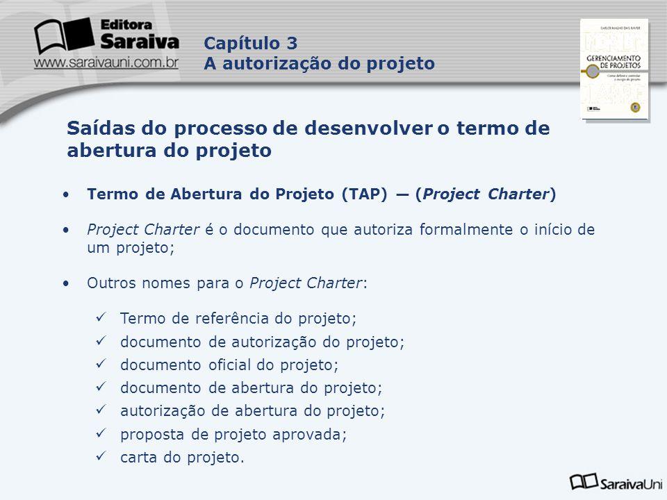 Capa da Obra Capítulo 3 A autorização do projeto Termo de Abertura do Projeto (TAP) (Project Charter) Project Charter é o documento que autoriza forma