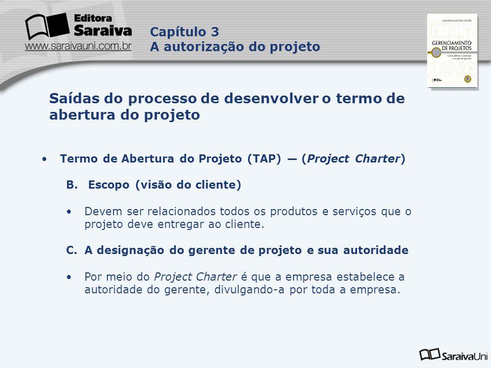 Capa da Obra Capítulo 3 A autorização do projeto Termo de Abertura do Projeto (TAP) (Project Charter) B. Escopo (visão do cliente) Devem ser relaciona