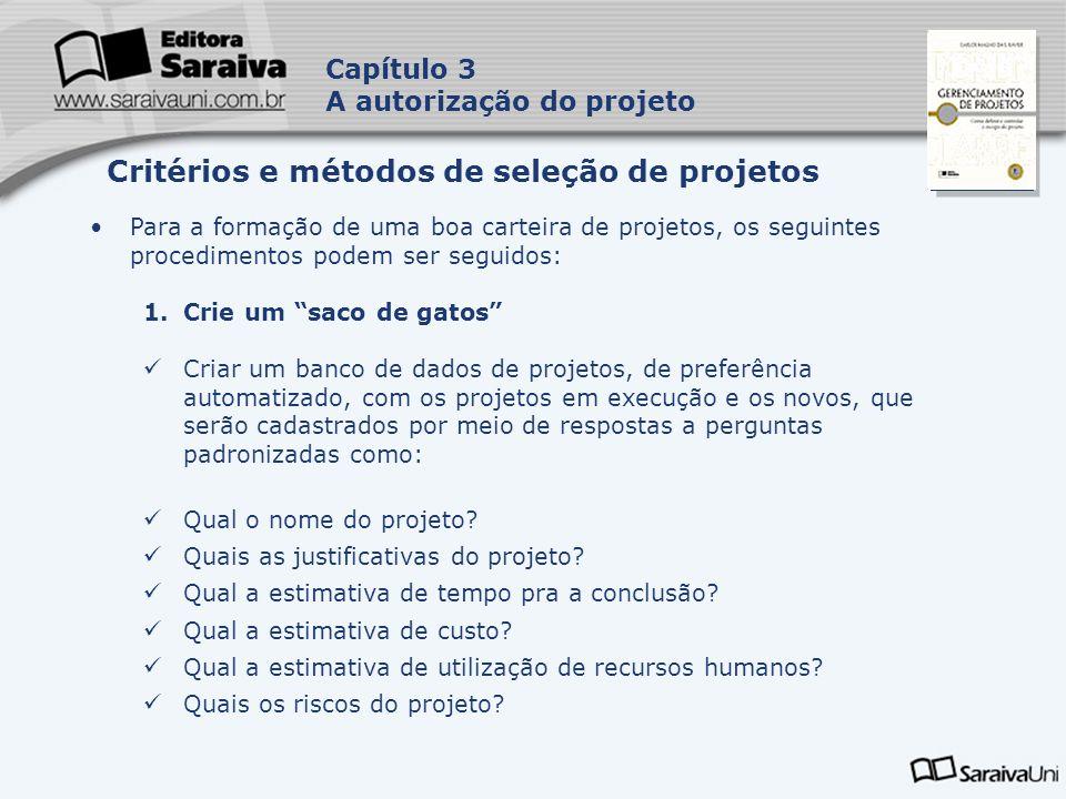 Capa da Obra Capítulo 3 A autorização do projeto Para a formação de uma boa carteira de projetos, os seguintes procedimentos podem ser seguidos: 1.Cri